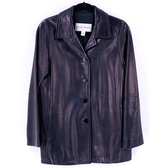 Ellen Tracy Jackets & Blazers - ELLEN TRACY Black Leather Blazer Small Jacket